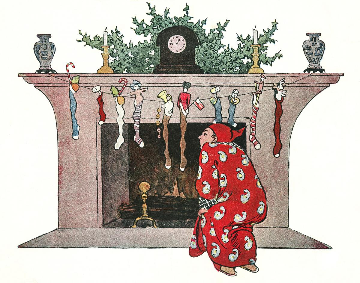 And Giving a Nod, Up the Chimney He Rose by Jessie Wilcox Smith (1863–1935). Original from The New York Public Library.