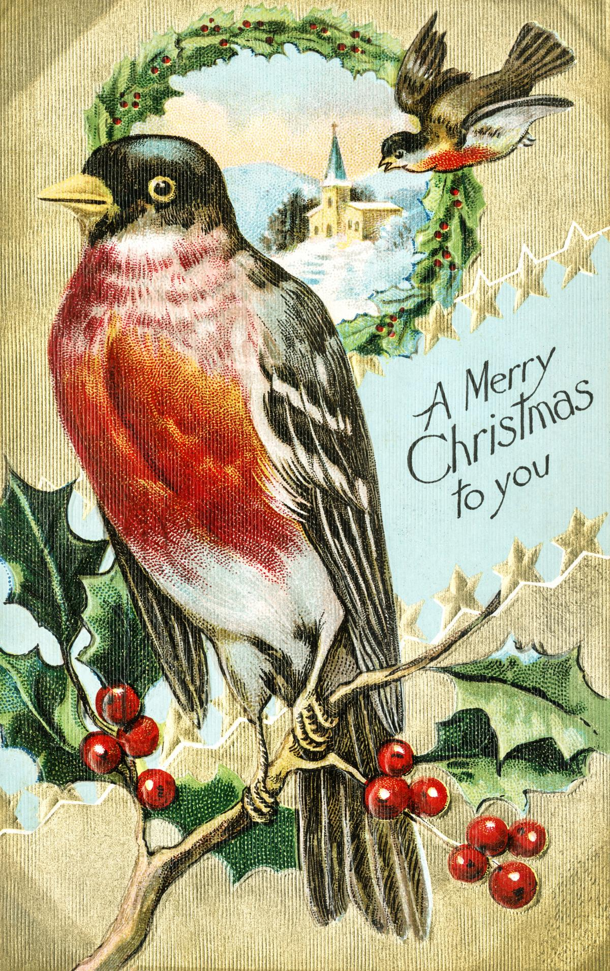 Vintage Christmas Postcard (1908) by Bamforth & Co. Original from The New York Public Library.
