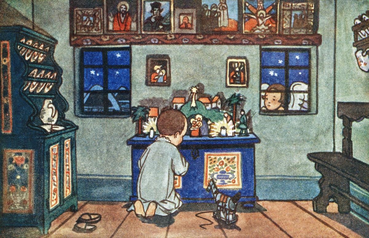 Boy Playing with Christmas Toys by Zdenek Guth. Original from The New York Public Library.