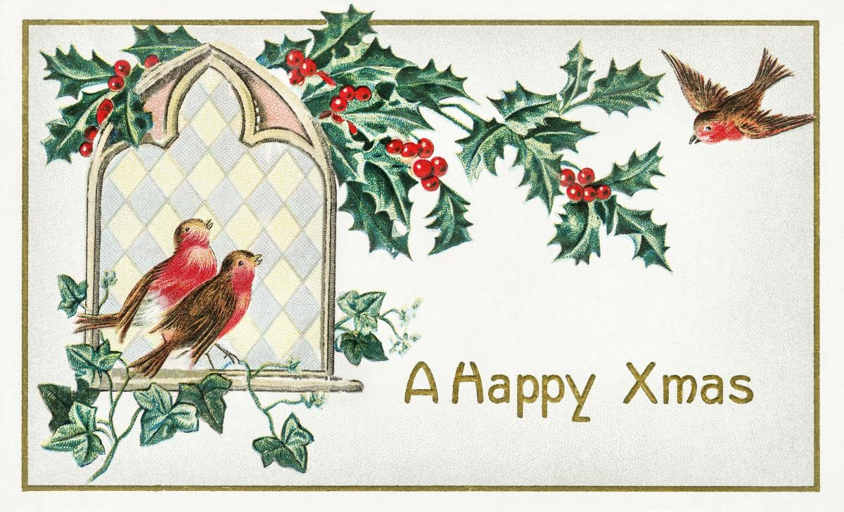 A Happy Xmas Postcard (1912) by J. Herman. Original from The New York Public Library.