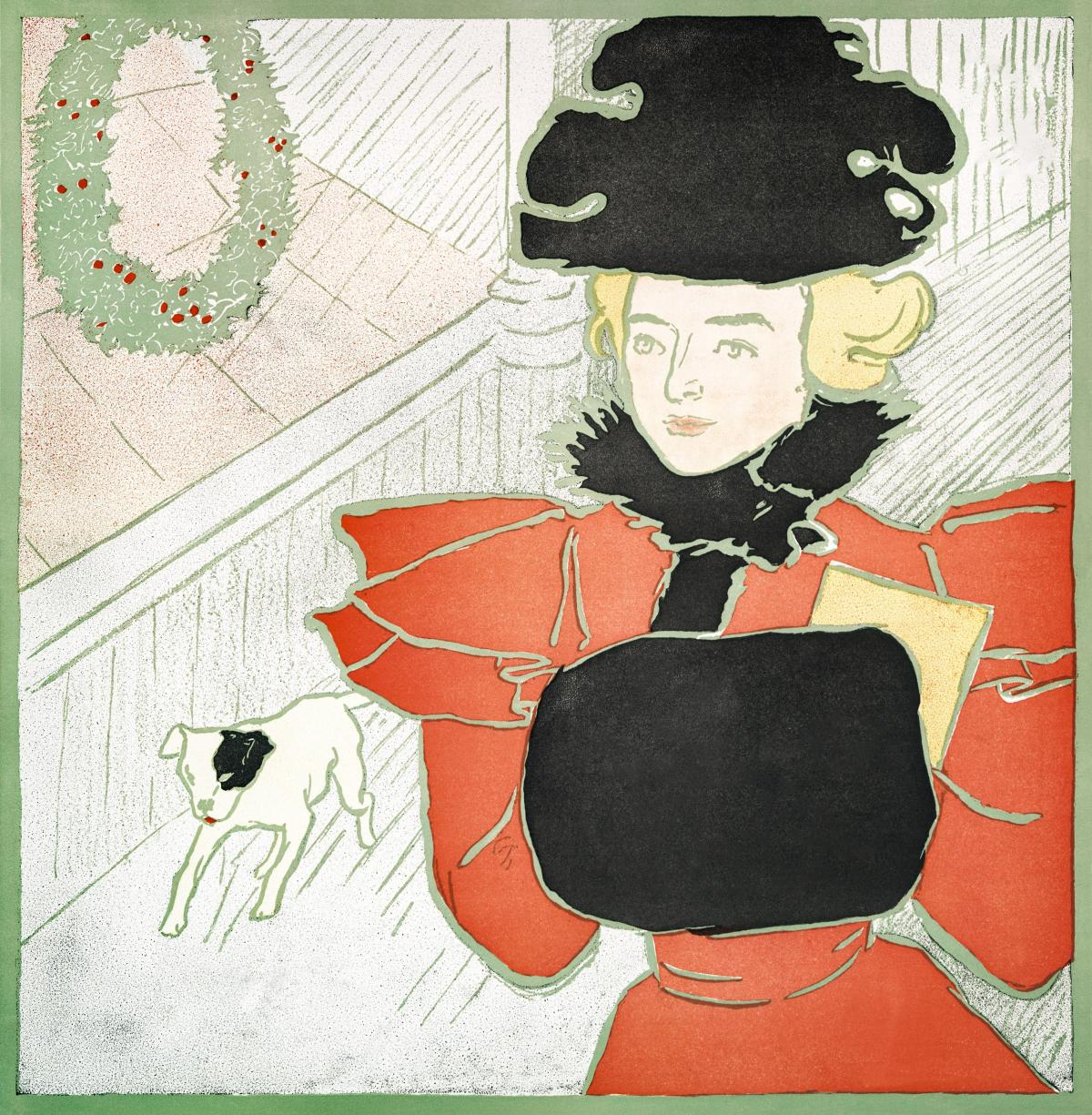 Vintage Christmas Card (ca. 1890–1907) by Edward Penfield. Original from The New York Public Library.