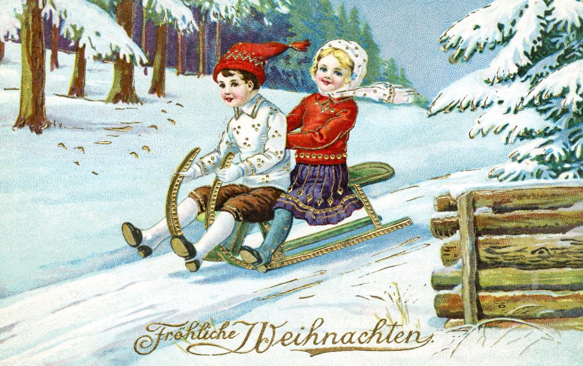 Vintage Christmas Postcard by H.W.B. publisher. Original from The New York Public Library.
