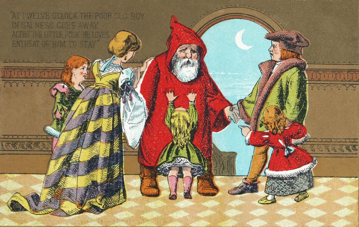 Father Christmas and His Little Friend no.6 (1880) by Marcus Ward & Co. Original from The MET Museum.  #423526