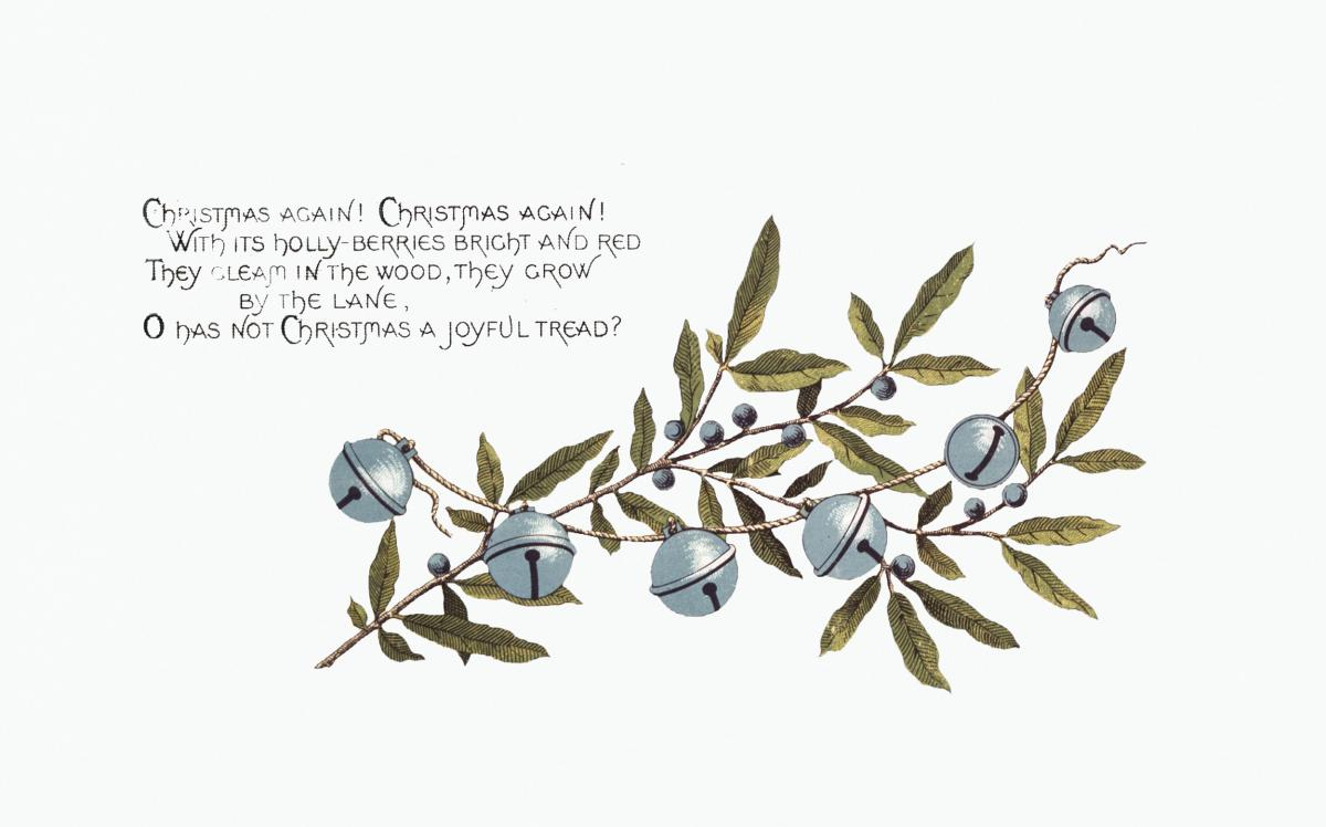 Christmas Card Depicting Bells and Blueberries (1865–1899) by L. Prang & Co. Original from The New York Public Library.