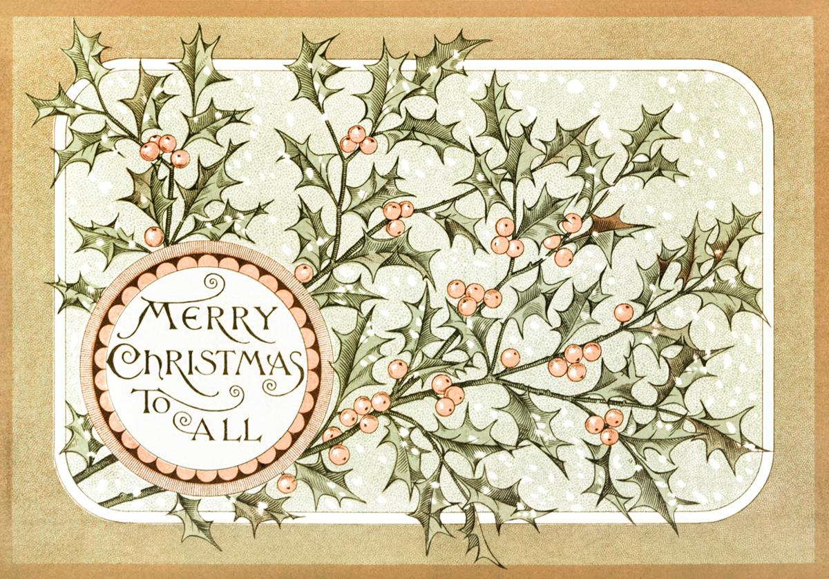 Christmas Card Depicting Botanical Ornamentation (1865–1899) by L. Prang & Co. Original from The New York Public Library.  #423535
