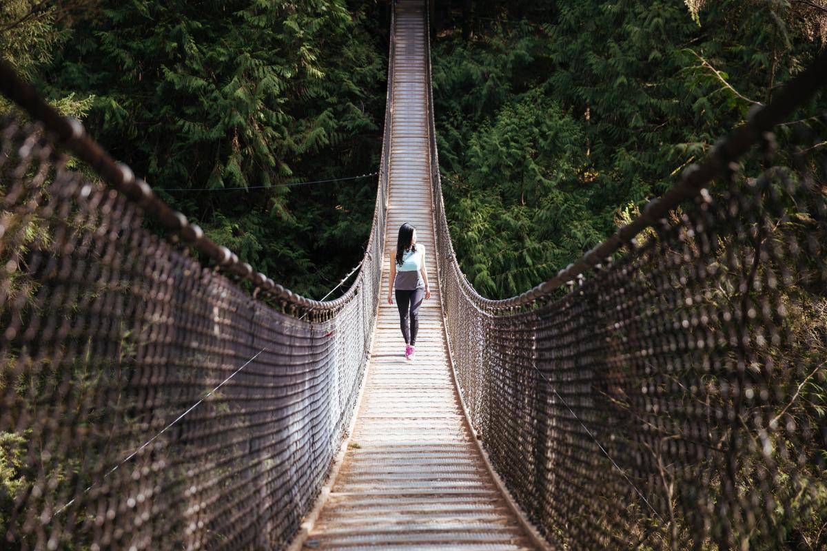 Woman Bridge Hiking Free Photo