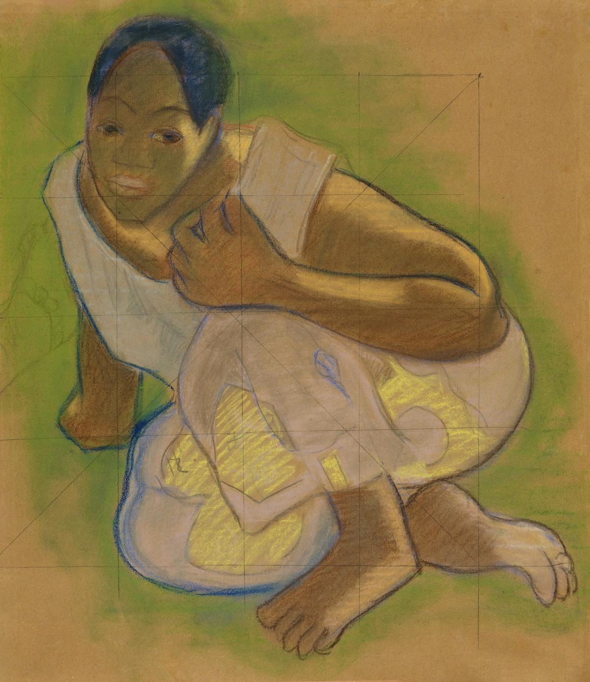 Crouching Tahitian Woman (related to the painting Nafea faa ipoipo [When Will You Marry?]) (ca. 1891–1893) by Paul Gauguin. Original from The Art Institute of Chicago.