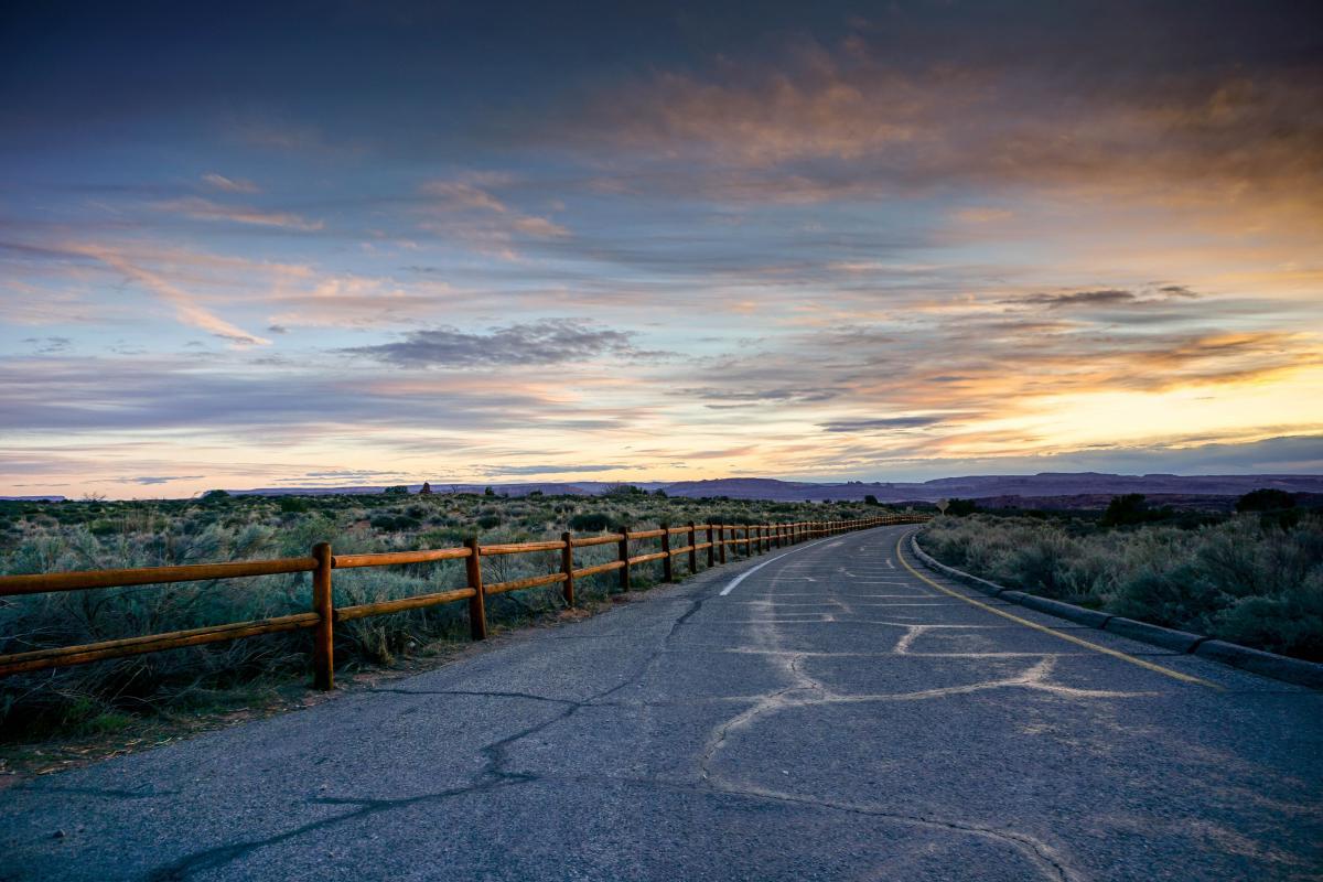 Railing Road Landscape