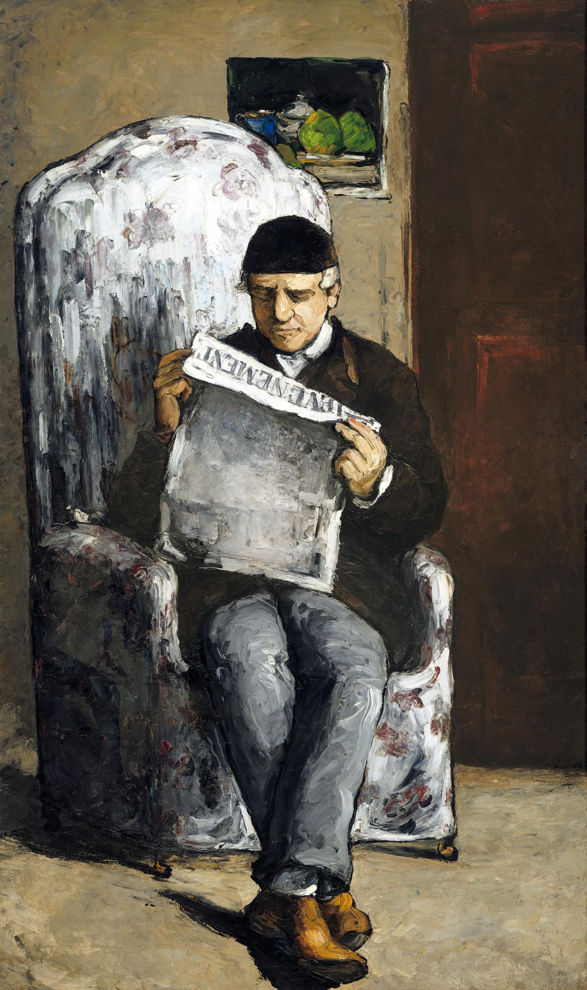 """The Artist's Father, Reading """"L'Événement"""" (1866) by Paul Cézanne. Original from The National Gallery of Art."""