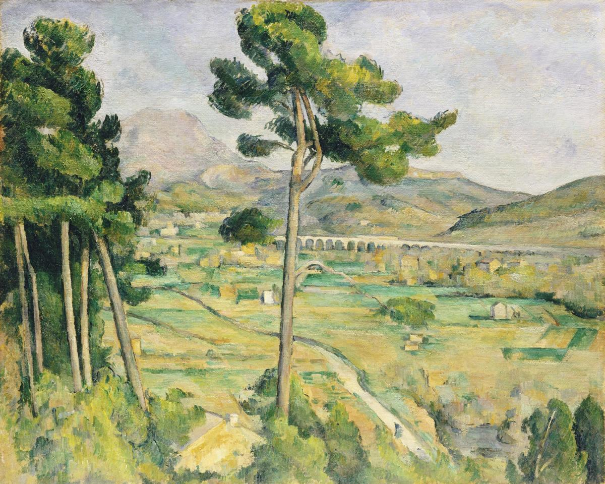 Mont Sainte-Victoire and the Viaduct of the Arc River Valley (ca. 1882–1885) by Paul Cézanne. Original from The MET Museum.  #426017