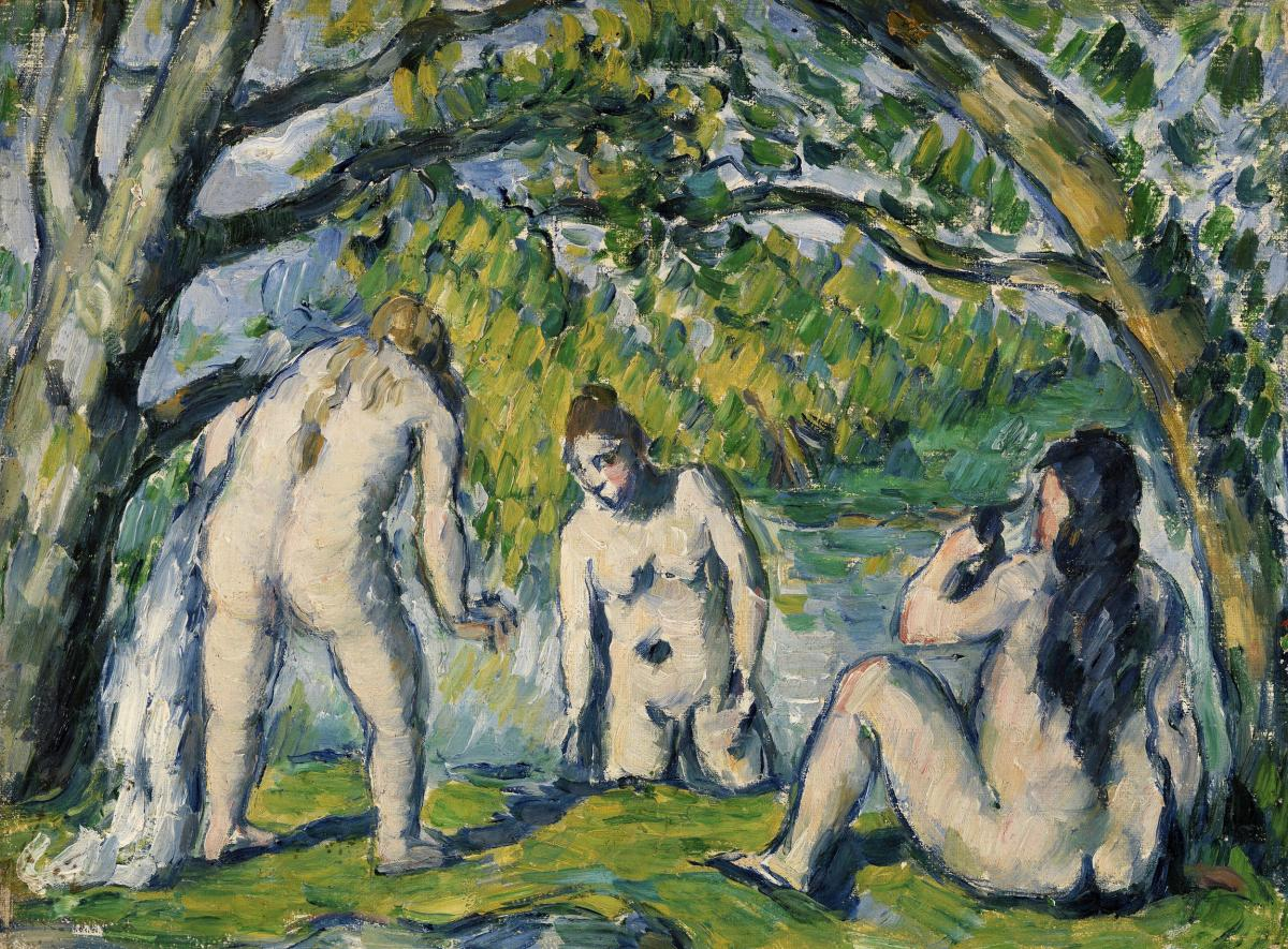 Three Bathers (Trois baigneuses) (ca. 1876–1877) by Paul Cézanne. Original from Original from Barnes Foundation.