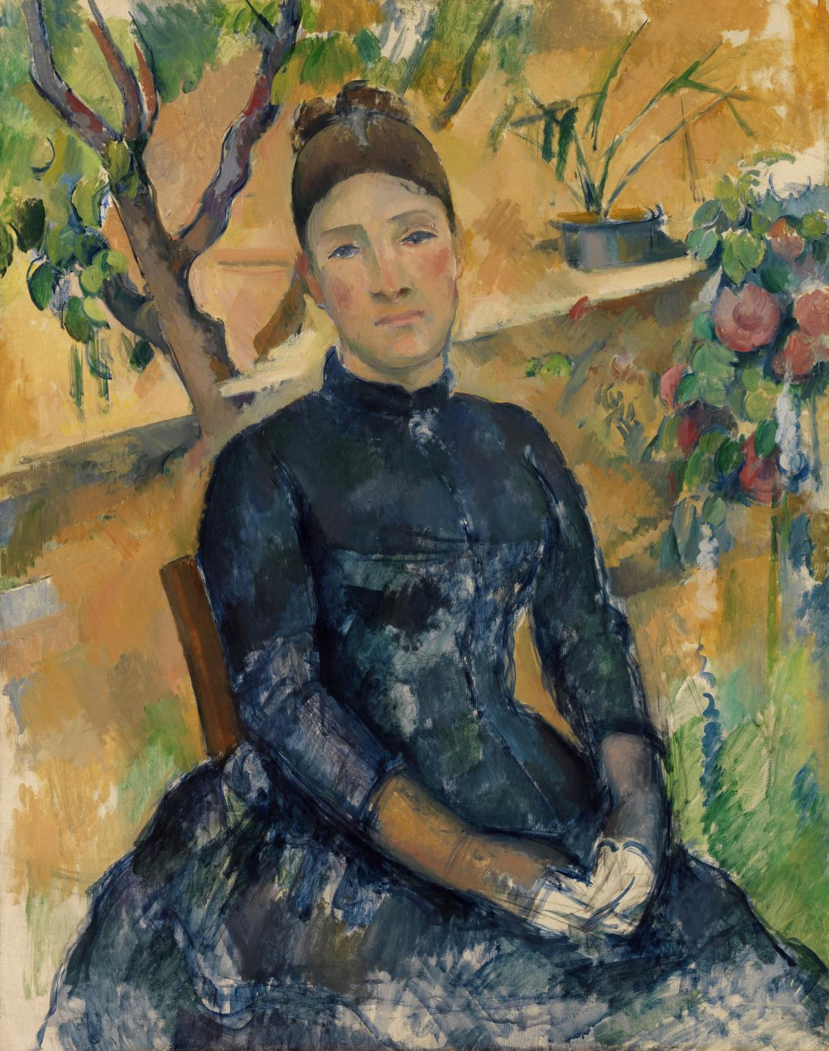 Madame Cézanne (Hortense Fiquet, 1850–1922) in the Conservatory (1891) by Paul Cézanne. Original from The MET Museum.  #426027