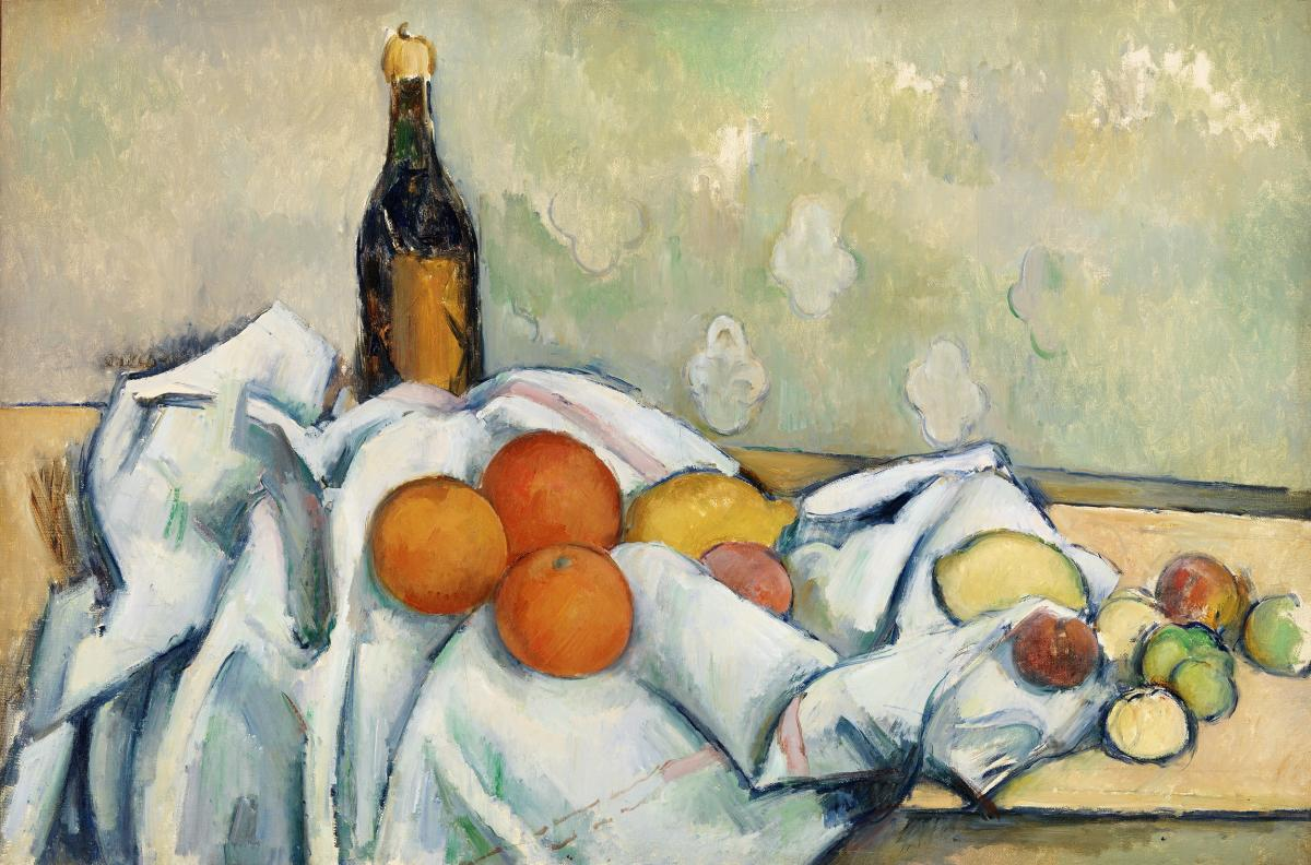 Bottle and Fruits (Bouteille et fruits) (ca. 1890) by Paul Cézanne. Original from Original from Barnes Foundation.  #426044