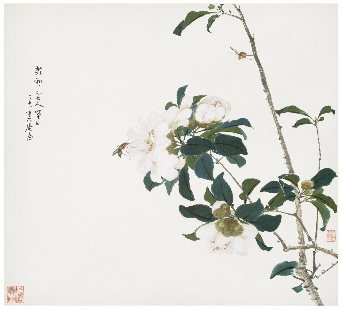 Insects and Flowers (Qing dynasty ca. 1644–1911) by Ju Lian. Original from The Getty.