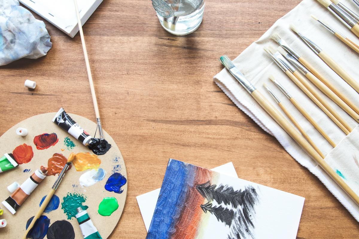 Paint Supplies Desk Free Photo