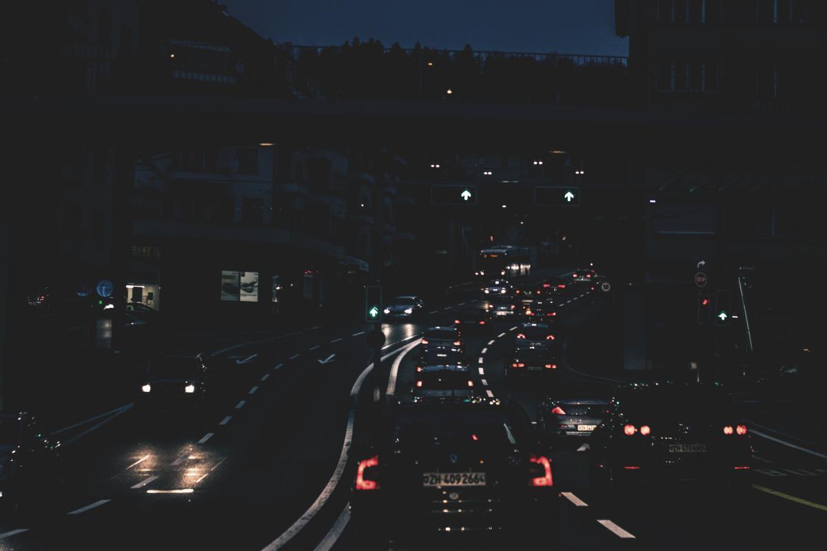Automotive blur buildings car lights
