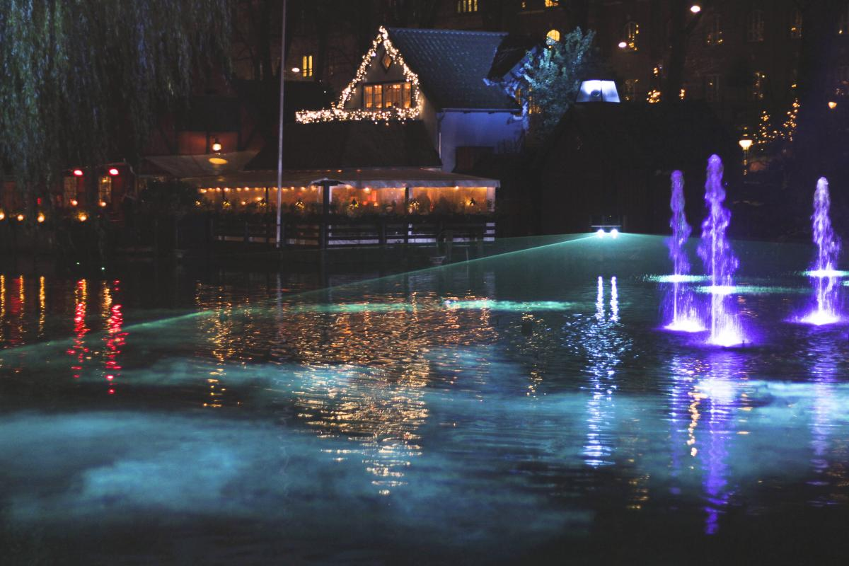 Reflection of Illuminated Lights in Water at Night #62823