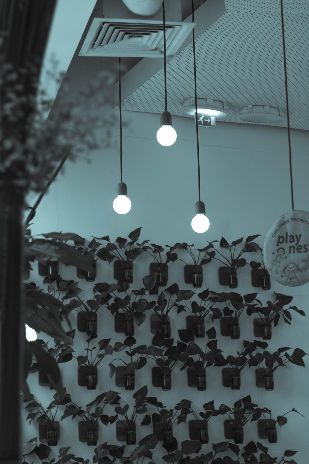 Illuminated Lamp Hanging Against Sky at Night #63758