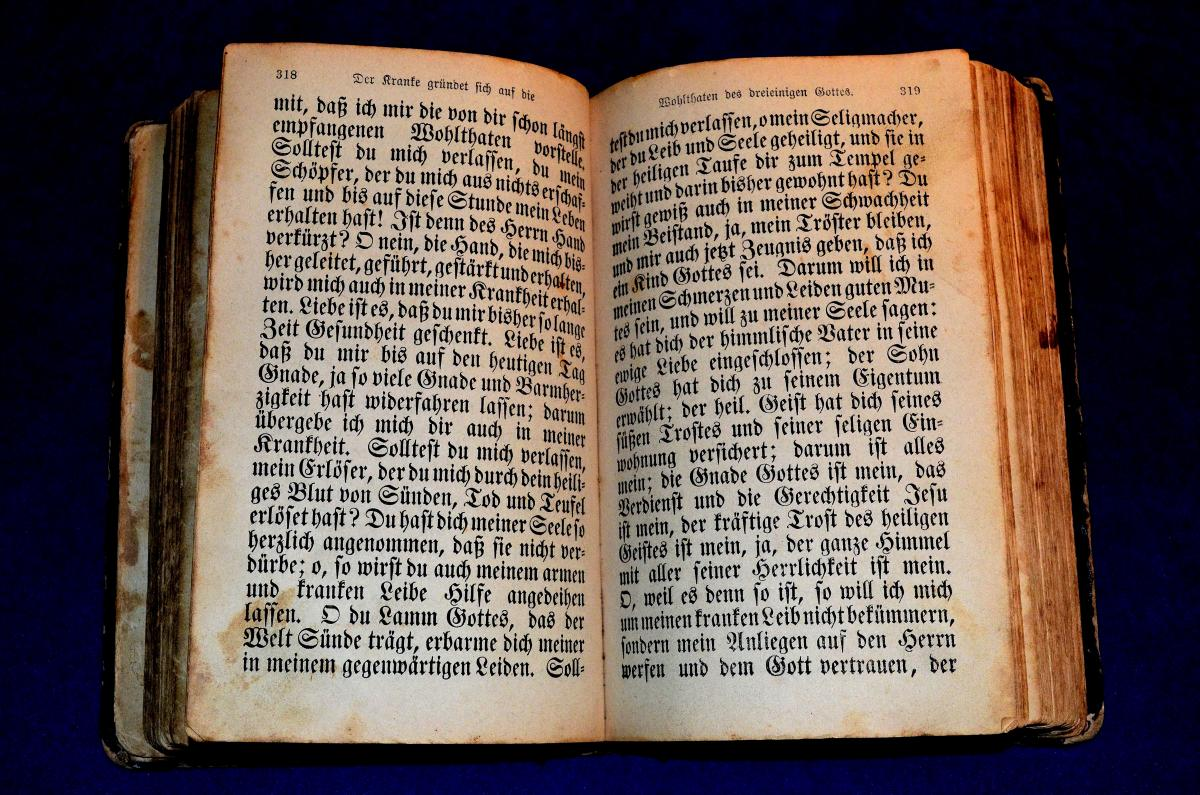 Vue grand angle du livre ouvert sur fond bleu #65447