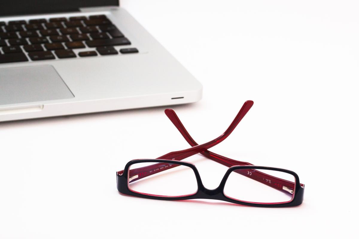 Blue business glasses laptop #70010
