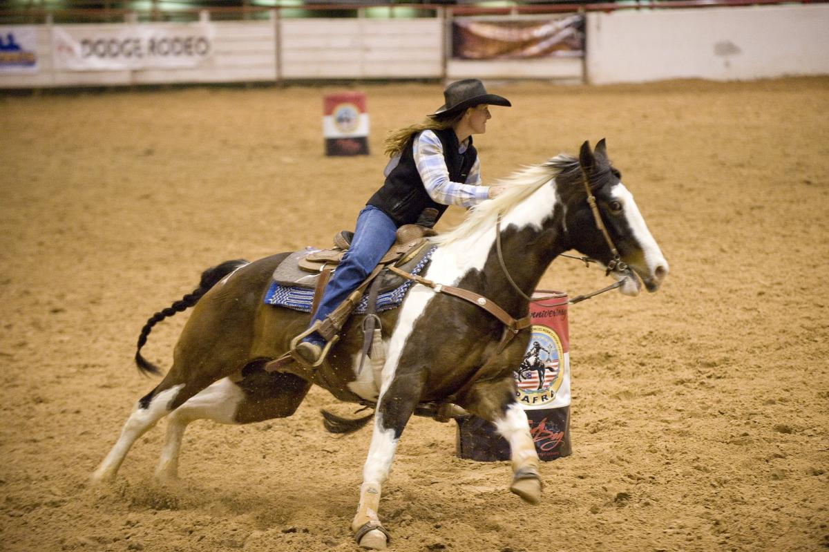 Action arena barrel racing competition