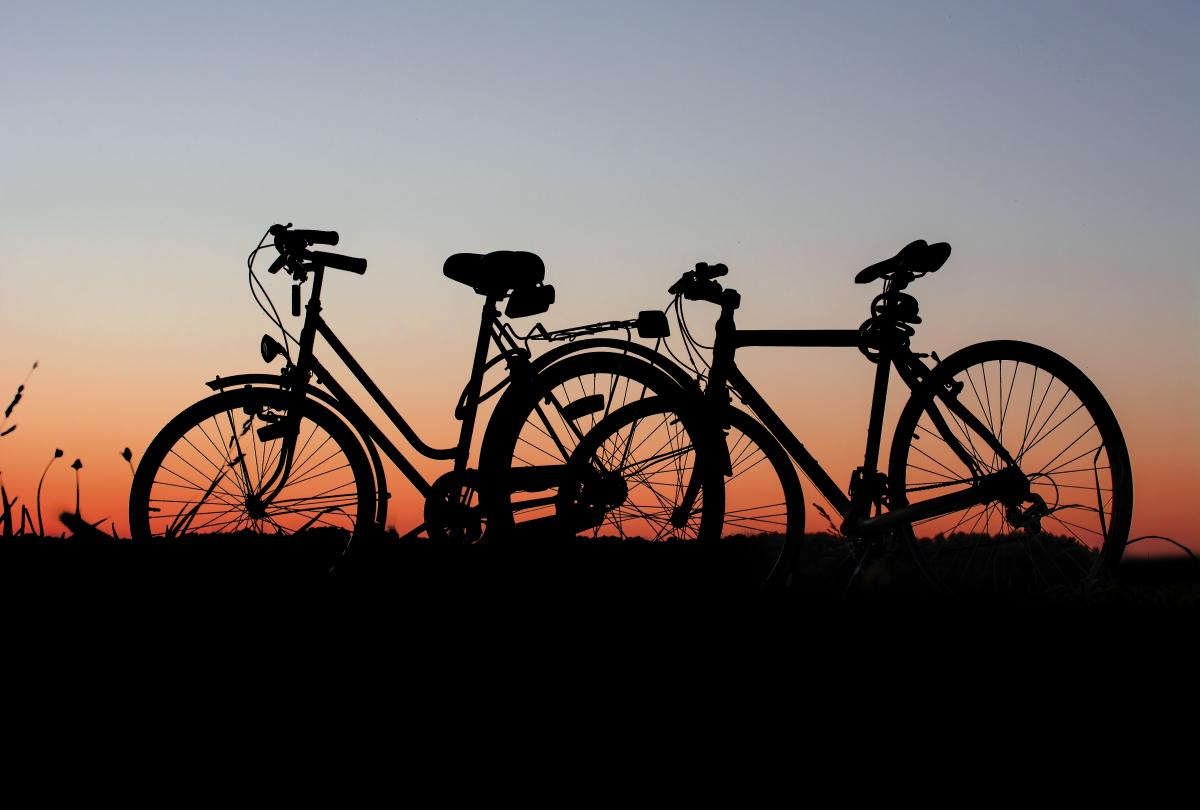 Bicycles bikes cyclist dawn #91844