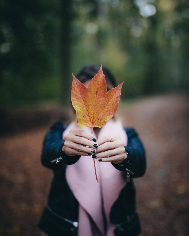 Fall girl leaf macro #93426