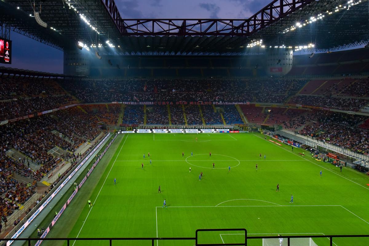 Fans flood light football match football stadium #99743
