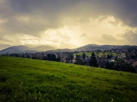Clouds grass mountain rain #100151