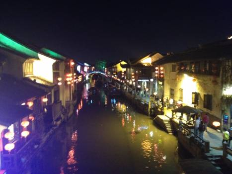 Night Channel City Free Photo