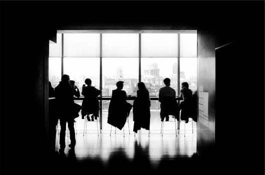 people meeting silhouette  Free Photo