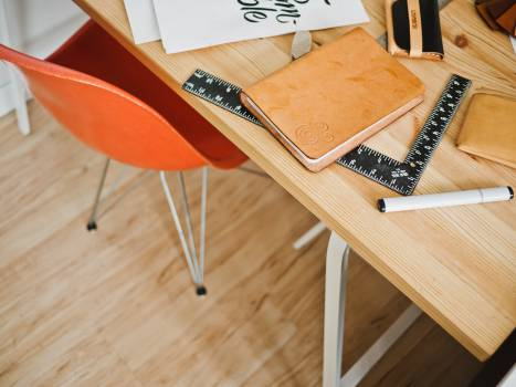 hardwood table desk  Free Photo