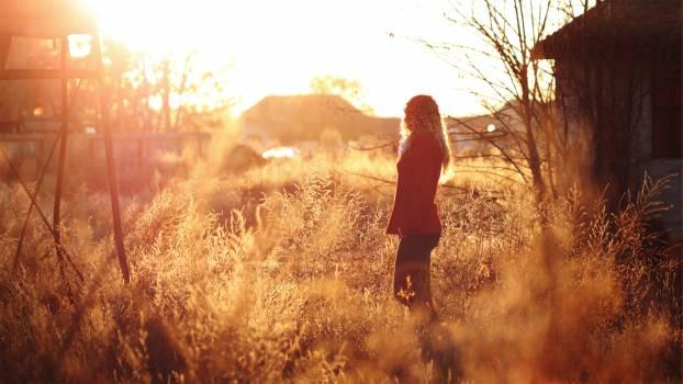 sunset sun rays girl  #16651