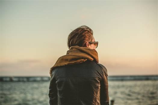leather jacket scarf sunglasses  #16657