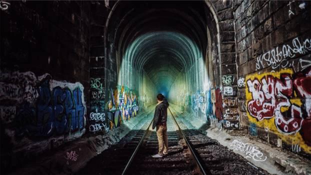 train tracks tunnel graffiti  #16790