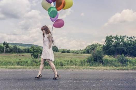 girl woman balloons  #17267