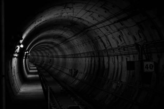 tunnel underground black and white  #17352
