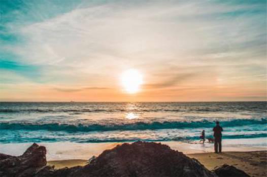 sunrise beach sand  Free Photo