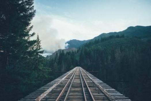 wood train tracks railroad  #17684