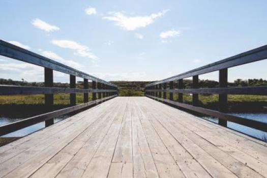wood bridge sky  Free Photo