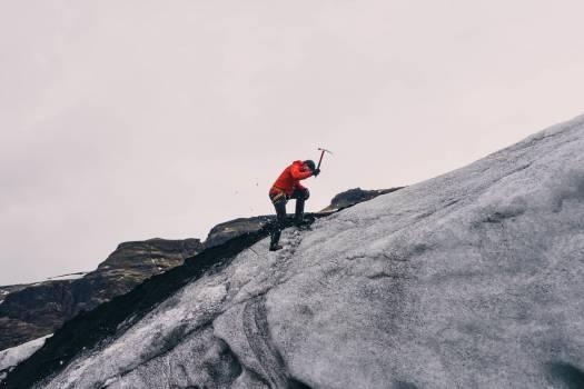 mountain climber pickaxe  Free Photo