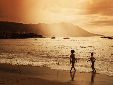 sunset dusk beach  Free Photo