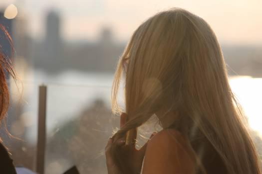 girl blonde long hair  Free Photo