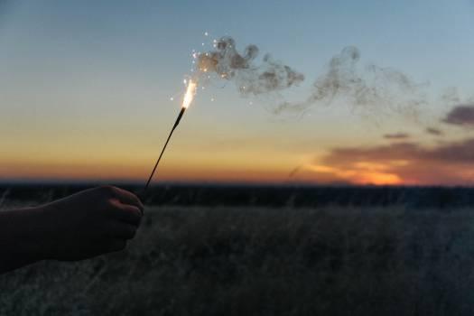 sparkler flare smoke  Free Photo