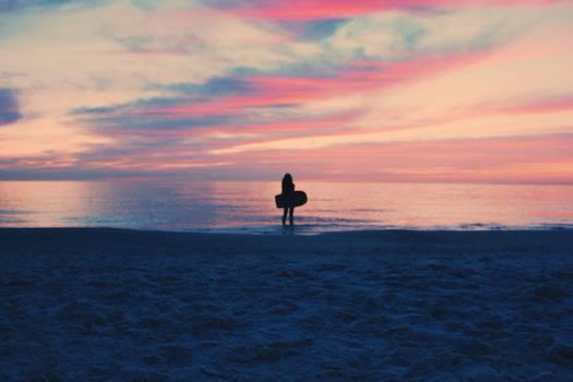 sunset dusk beach  #18230