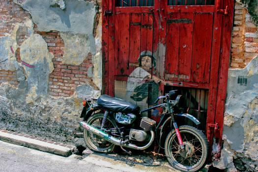 motorcycle motorbike graffiti  Free Photo