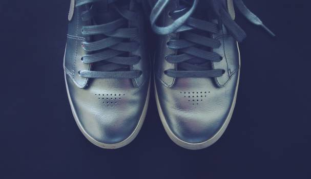 silver shoes sneakers  Free Photo