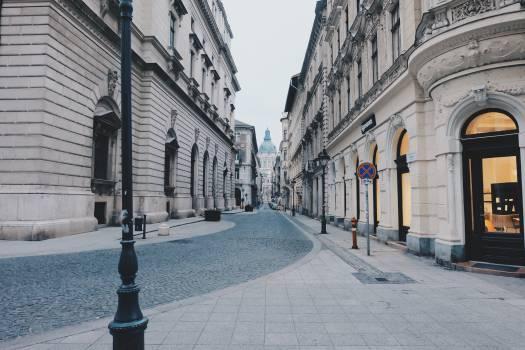 cobblestone street sidewalk  Free Photo