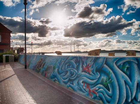 Railing Landscape Graffito Free Photo