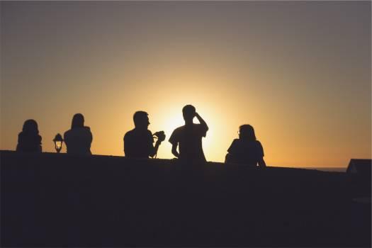 sunset silhouette people  #18453